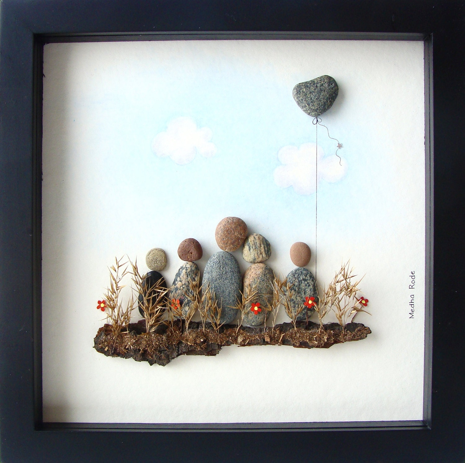 Gifts Made Of Stone : Pebble art family unique gift of five