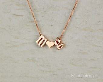 Initials Necklace with Heart or Ampersand N1 • Love Necklace, Gold, Silver, Rose Gold, Heart Necklace, Friendship Necklace, Gift For Her