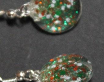 Orange and green miami hurricanes colors, glitter sparkly fishhook earrings, Team Spirit