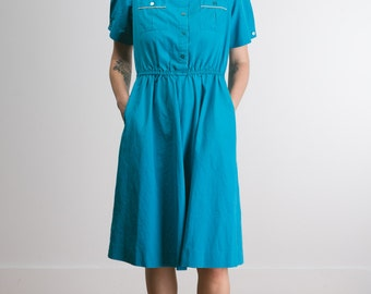 Vintage Turquoise Short-sleeved Trench Dress