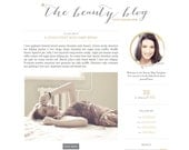 Beauty Blogger Template - Blogger Theme - Blogspot Template - Premade Blog Design -  Feminine Grey Gold Fashion Lifestyle