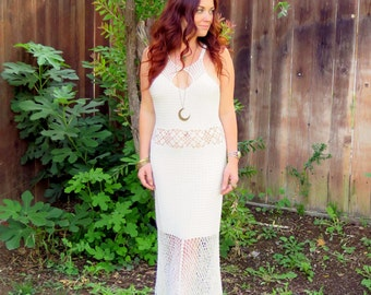 Vintage 70s Bohemian Hippie Goddess Wedding Maxi Dress