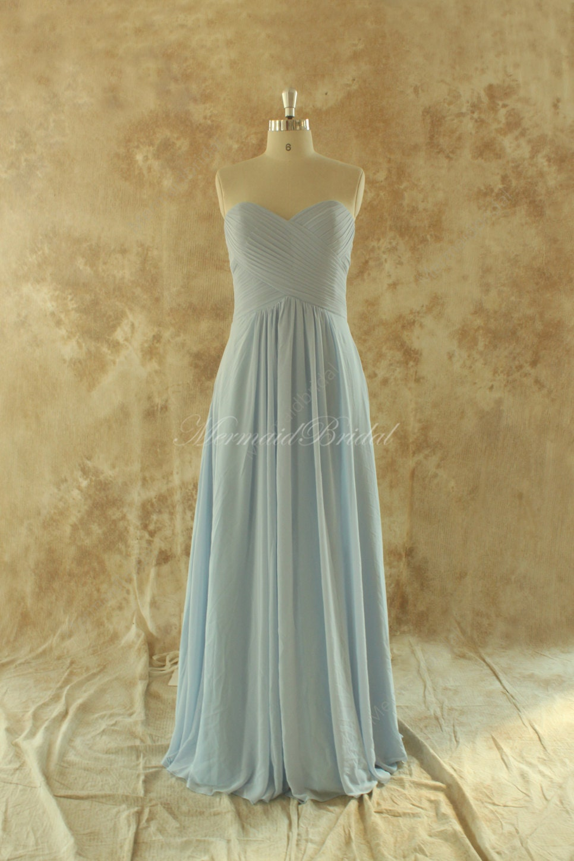 Blue Wedding Dress Simple : Simple light sky blue bridesmaid dress prom by mermaidbridal