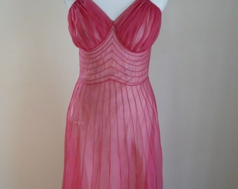 60's Schiaparelli Gown Lingerie Pink Vintage Designer Lounge