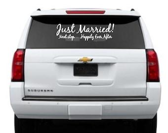 Mariage de décalque, Just Married autocollant de voiture,