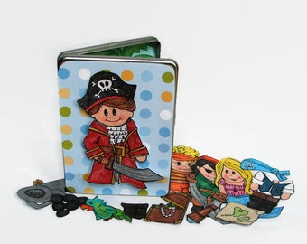 Pirate Toy, Pirate Themed Magnetic Paper Doll Set for Boys, Pirate Play, Travel Toy for Boys, Pirate Magnet