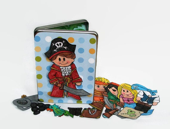 Pirate Toys For Boys : Pirate toy themed magnetic paper doll set for boys