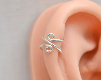 Cartilage Silver Ear Cuff Wraps, No Piercing, Wire Jewelry, Minimalist