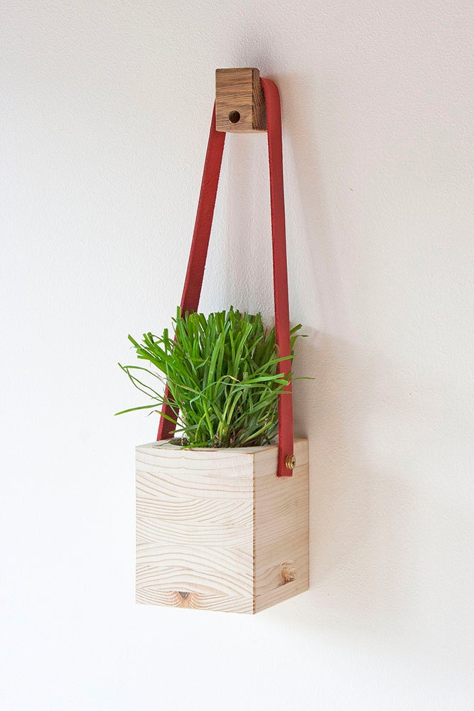 Wood and Leather Hanging Wall Planter