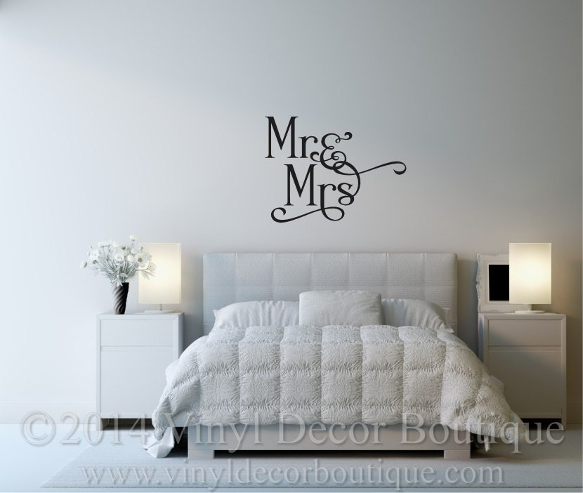 mr and mrs vinyl wall decal for master bedroom vinyl lettering
