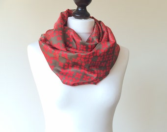 Red Loop Scarf, Christmas Scarf, Satin Circle Scarf, Boho Printed Scarf, Infinity Scarf, Women Scarf, Christmas Gift, Designscope