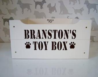 Personalised Dog Toy Box - Cream with Brown Lettering