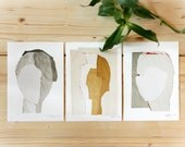 Gallery Wall Art, Set of 3 prints in 5x8, Modern Wall Decor Set, A5 Abstract Cards