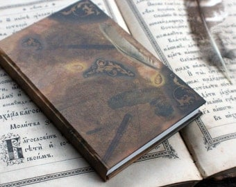 """NEW! Small hand bound journal, handmade notebook, vintage journal, antique diary, old journal for storing mementos: """"Keep-sake moments"""""""