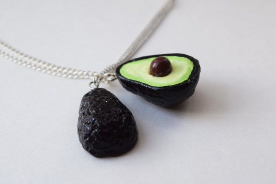 Avocado Necklace Best Friend Set - BFF Necklaces - Avocado Halves - 2 Necklaces