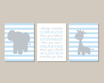 Elephant Nursery Wall Art Prints Or Canvas Always Remember You Are Braver Baby
