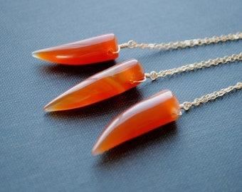 Carnelian Necklace, Carnelian Horn Necklace, Carnelian Point Necklace, Carnelian Jewelry, Layering Necklace