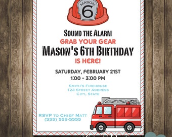 DIGITAL - Firetruck Birthday Party Invitation