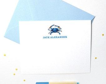 Nautical Personalized Stationery Set | Personalized Note Cards | Blue Crab Personalized Note Cards