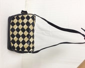 Black Leather Purse Black & Tan Woven leather flap, Shoulder Bag,bag,purse, Free shipping in the US