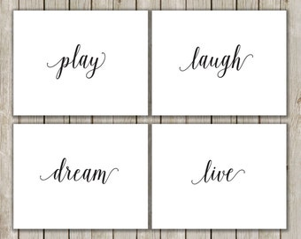 5x7 Home Decor Printable, Play, Laugh, Dream, Live Printable Art, Wall Art Poster, Typography Prints, Set of Four, Instant Digital Download