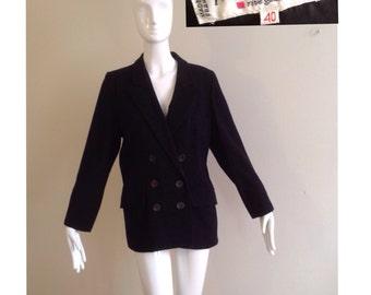 Vintage 80s YSL Yves Saint Laurent Rive Gauche Black Wool Blazer ~ Double Breasted Preppy Boyfriend Jacket