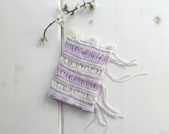 French Cafè curtain, crochet curtain, off white and lilac, country chic, shabby chic decor -