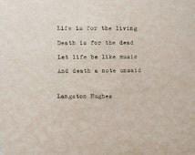 Langston hughes typewriter poem life and death poetry harlem
