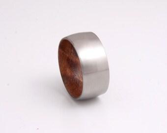 titanium wood ring wedding band red wood ring