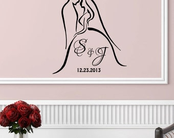 "Personalized Wedding Silhouette wall decal (22"" X 24.5"")"