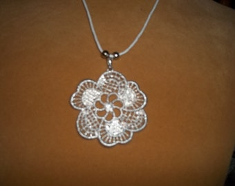 Silver Flower Filligree Necklace - N147