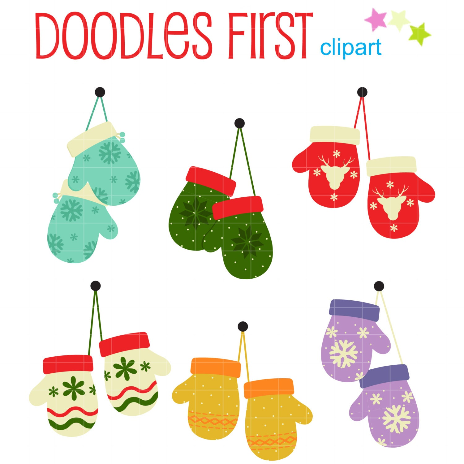 Christmas Mittens Digital Clip Art for by DoodlesFirst on Etsy