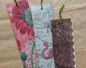 Three scrapbook bookmarks, vintage style bookmarks from an exotic garden.