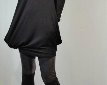 Loose Hooded Top / Long Sleeves Women Top / Sweater Dress / Oversize Sweatshirt / MD 10116