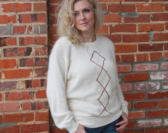 SALE - White Angora Sweater with Copper Sequins - M