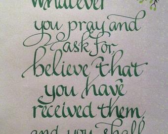 Custom Calligraphy Bible Verse Art, Scripture Wall Art, Religious Wall Art, Christian  Wall Art, 8 x 10 Hand Lettered Original