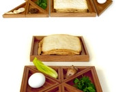 Solid Mahogany Seder plate, modern Judaica premium Passover gift. Pessach night decor with Matzoh tray, Tangram inspired gift from israel