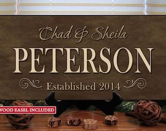 Personalized Wedding Gift, Family Name Sign, Custom Wood Sign, Last Name Established, Custom Personalized Sign