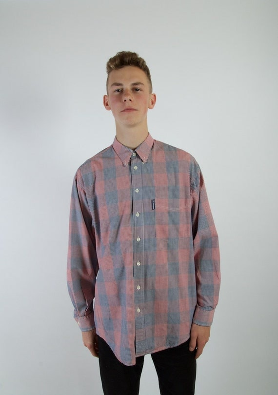 Plaid Blue Red Mens Button Up Shirt Long Sleeve Checkered
