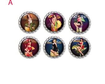 Pinup Girl Retro Magnets. Refrigerator Magnet Set of 6   Office Magnets, Under Ten gift