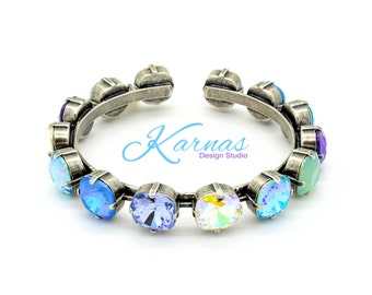 OCEAN TREASURE 12mm Crystal Cushion Cut Cuff Bracelet Made With Swarovski Elements *Antique Silver *Karnas Design Studio *Free Shipping*
