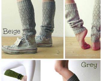 Women Leg warmers in Light Beige / Boot cuff /  Urban clothing / Knit leg wear / geometric dance leg warmers