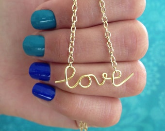 Dainty Love Necklace in Cursive Wire Writing. Silver or Gold Colors