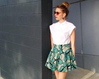 African Skater Skirt / Wax Print Skirt / Printed Mini Skirt- Handmade by FallfellFallen