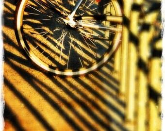 Bike in Bike Rack, Shadows, Lines, Circles, Early Morning Light, Vignette