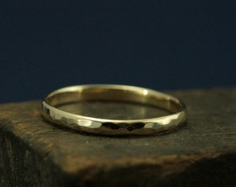 Hammered Gold Wedding Ring--2mm Wide Perfect Hammered Band--Solid 14K Gold Wedding Ring--Women's Gold Wedding Band-Your Choice of Gold Color