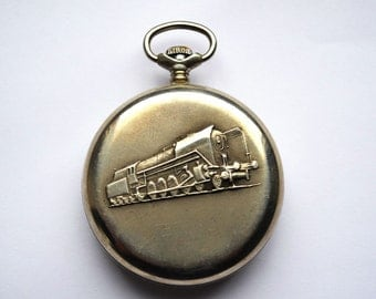Old Pocket Watch made in Soviet Russia in 80s, Watch For Him - Gift for Him, Vintage Working Watch, Antique Watch, Train Locomotive Vintage
