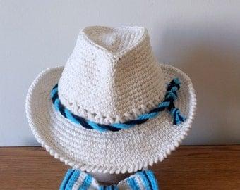 Baby Boy Fedora Hat and Bow Tie Set Crochet Cotton Newborn