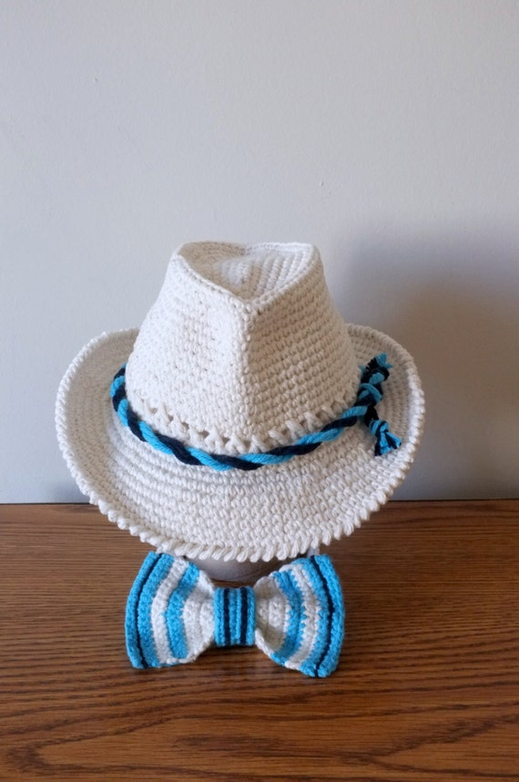 Crochet Baby Fedora Hat and Bow Tie Set Toddler Summer Panama Cotton Hat Newborn Photography Baby Boy Shower Gift Cute Hats by Mila
