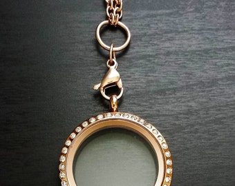 Large Rose Gold Floating Locket-30mm-Stainless Steel-Twist Crystal Face-Gift Idea
